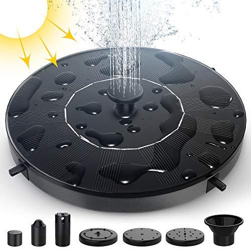 Bomba de Agua Solar, EGNBU 1W Fuente Solar Panel Solar Flotante Fuentes Solares para Jardin con 6 boquillas y Kit de fijación, Utilizado para Fuente, Piscina, Estanque, decoración de jardín