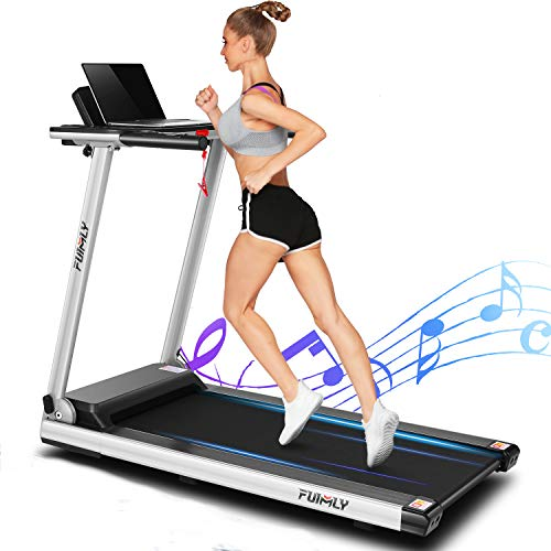 FUNMILY Folding Electric Treadmill,12 preset Programs, Heavy Duty Steel Frame Treadmills with Large Desk,2.25HP Jogging Walking Running Motorized Exercise Machine for Home Gym Office Workout