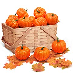 SUPER VALUE PACK. This set includes 12 Fake Pumpkins, 36 Fake Maple Leaves. Simulated Crops Set have the same appearance and size as real vegetables. Perfect Thanksgiving Pumpkin Decoration. GREAT FESTIVAL DECORATION. This Artificial Harvest Decorati...
