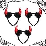 Cuernos de diablo con felpa, 3 piezas de cuernos de diablo en la diadema, diadema de disfraz de fiesta de Halloween (rojo)