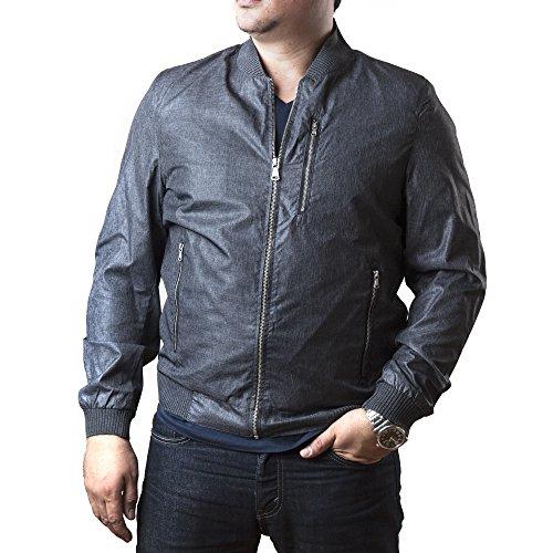 Sean John Men's Zip-Front Lightweight Nylon Jacket with Ribbed Trim (L, Grey)