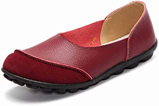 JHKSO Women's Casual Shoes Soft Female Flats Non-Slip Woman Loafers Leisure Slip-On Boat Shoe