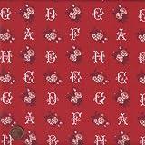 100% Baumwolle Stoff   Rot   Weihnachten - Buchstaben und