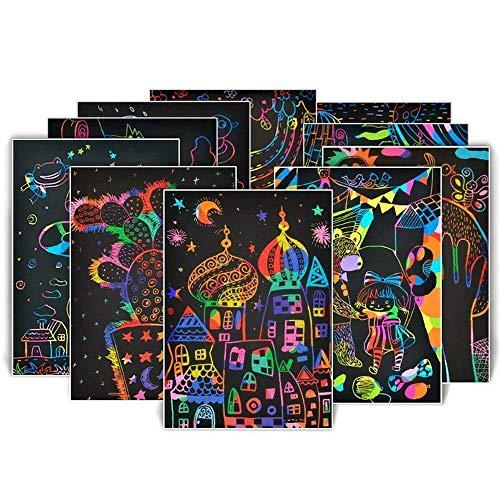 DEDC Manualidades para Niños, 50 Hojas Scratch Art Cuadernos para Dibujar Papel de Rascar Incluye 4 Plantillas de Plantillas de Dibujo y 5 Lápices de Madera