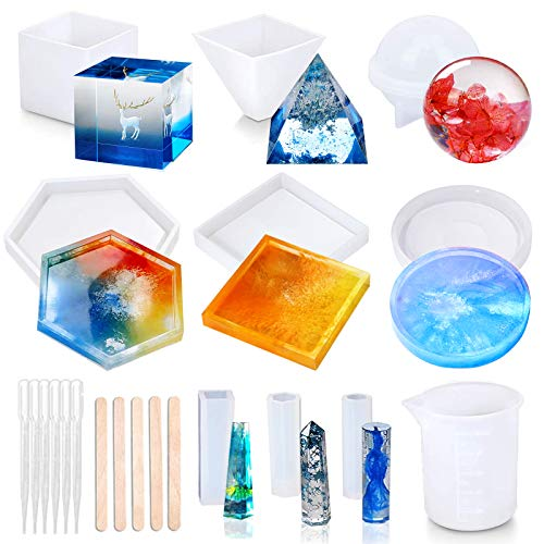 Resin Molds, 20Pcs DIY Silicone Resin Molds, Epoxy Casting Molds Including Cube, Sphere, Pyramid, Coaster Shapes, Pendants, with Measurement Cup,Dropper and Wood Sticks