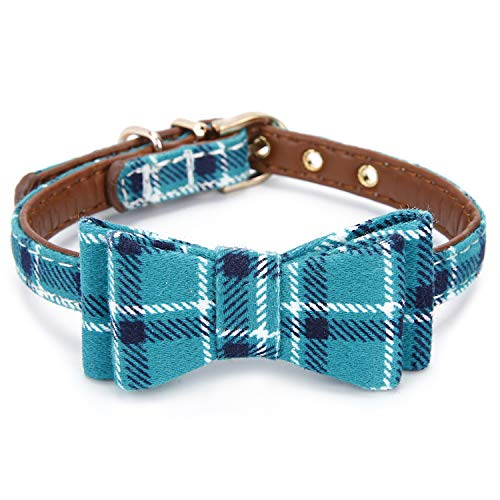 Extra Small Dog and Cat Collar with Cute Plaid Bowtie. Adjustable 5 Holes to Also Fit Puppy and...
