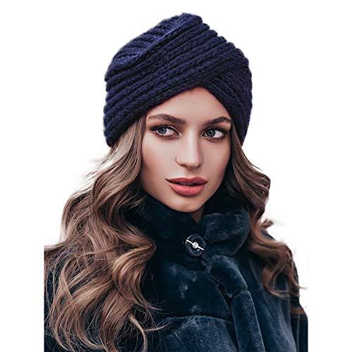 WELROG Gorro turbante de punto para mujer Gorra cruzada de invierno con cruzado para mujer Tapa de pila para el cáncer Pérdida de cabello con alopecia de quimioterapia (azul marino)