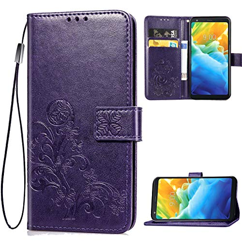 LG Stylo 5 Wallet Case, [Flower Embossed] Premium PU Leather Flip Protective Case Cover with Card Holder and Stand for LG Stylo 5 2019 Release (Purple)