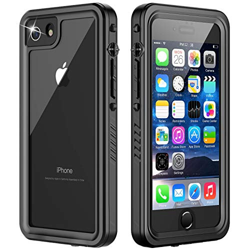 Temdan iPhone 8 Case, iPhone 7 Case, iPhone SE 2020 Case 360 Full-Body Built in Screen Protector Real Heavy Duty Rugged Shockproof Dustproof Case for iPhone 7/8/SE 2020 4.7 inch (Black/Clear)