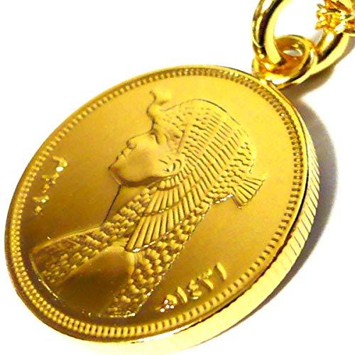 エジプト 50ピアストル 18金 18K コーティング コイン ネックレス チェーン ペンダント チェーン ゴールド アンティーク (60)