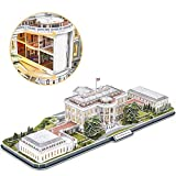 CubicFun 3d Puzzles for Adults LED Rotatable White House with Detailed Interior Model Kit, Lighting 3d Puzzle US Architecture Building Family Puzzle Desk Decor Birthday Gifts for Women Men, 151 Pieces