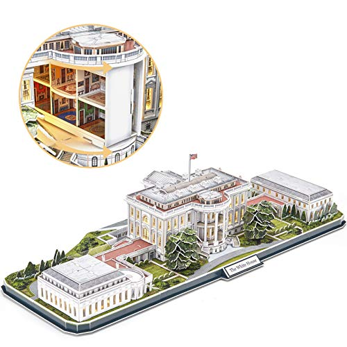 CubicFun 3d Puzzles for Adults LED Rotatable White House with Detailed Interior Model Kit, Lighting...