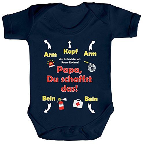 ShirtStreet Geschenk zum Vatertag Feuerwehrmann Strampler Bio Baumwoll Baby Body kurzarm Jungen Mädchen Feuerwehr - Papa Du schaffst das, Größe: 0-3 Monate,Nautical Navy