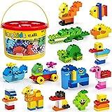 burgkidz Bloques de Construcción Grandes, 135 Piezas de Ladrillos de Construcción Creativos Clásicos con Caja de Almacenamiento, Juguetes para niños de 2 a 5 años