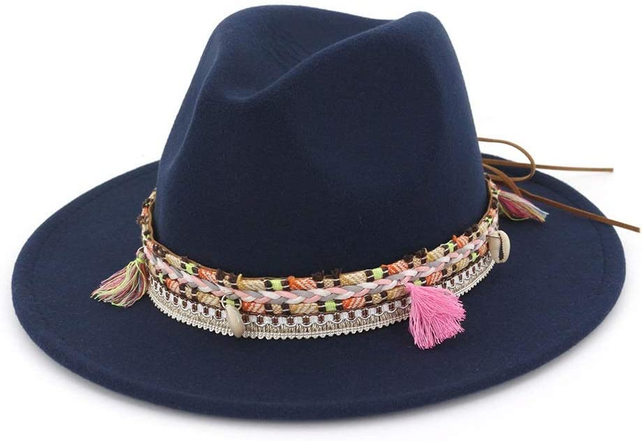 HXGAZXJQ Mens Womens Fedora Hat with Tassel Ribbon Party Hat for Adult Panama Jazz Hat (Color : Drak Blue, Size : 56-58)