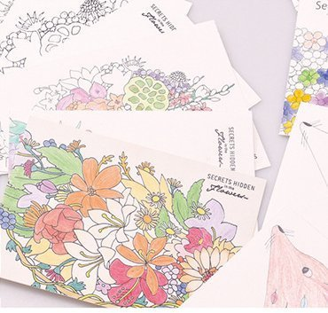 Coloring Greeting Cards, Set of 12 Elegant Cards to Color and Share for All Occasion, 4.2 x 5.8 inch, Plus Pack of 12 Color Pencils and One Coloring Blank Notebook