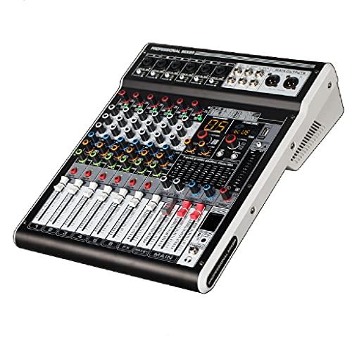 FENXIXI Mezclador de Audio DJ USB Mixer Reverb 48v Phantom Pantalla Digital Bluetooth Pc Interfaz Consola Mezcla grabación