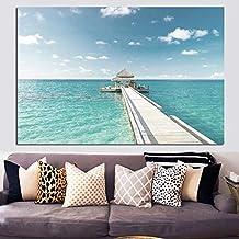 Pintura sin Marco Cielo Azul e Isla del océano cabaña Dormitorio Paisaje Marino Pintura al óleo póster Imagen de Arte de Pared Moderna para Sala de Estar 40X60cm