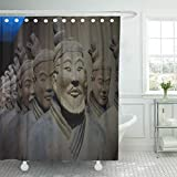 N\A Duschvorhang Osaka Japan September Replik von Terracotta Infantryman von The Shower Curtains Sets mit 12 Haken wasserdichtem Polyestergewebe