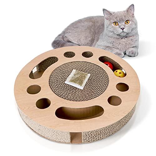 Nobleza Rascador para Gatos con Hierba Gatera,Redonda Rascadoras de Cartón para Cama con 2 Juguetes para Gatos Interactivos Pelotas