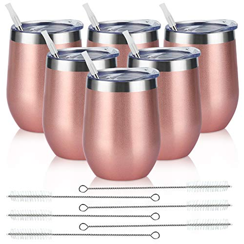 6 Pack Stainless Steel Wine Tumblers, 12Oz Insulated Wine Tumbler, Double Wall Insulated Wine Glass, Stainless Steel Stemless Wine Cups with Lids for Coffee, Wine, Cocktails, Champaign, Rose Gold