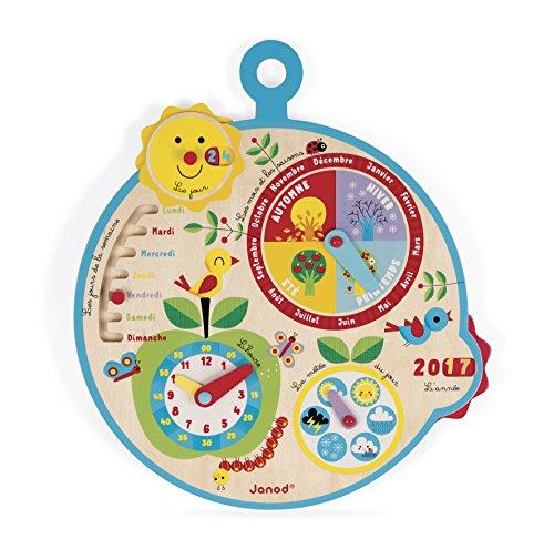 """Janod J09617 Lern-Kalender für Kinder """"Au Fil du Temps"""", aus Holz, für Kinder ab 3 Jahren, französische Version"""