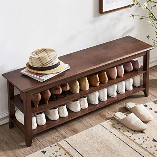 ACRO Storage Bench Wooden Shoe Bench Rustic Solid Wood Entryway Bench Brown472