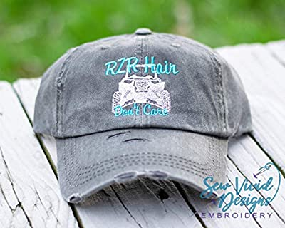 RZR Hair Don't Care Hat with ATV | Distressed Baseball Cap OR Ponytail Hat