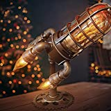 Steampunk Rocket Lamp Retro Rocket Lamp Steampunk Rocket Ship Lamp Simulation Flame LED Bulbs Lights Steampunk Style Lamp for Living Room,Bedroom,Cafe,Office Decoration (A)