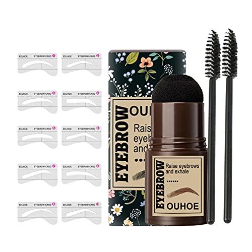 Lápiz de cejas en barra resistente al agua y al sudor, lápiz de cejas rápido de un solo paso y kit de plantilla, plantilla de maquillaje para principiantes de peinado de cejas reutilizable, 10 estilos