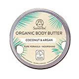 Suntribe Bio-Körperbutter KOKOS & ARGAN – 100% Bio – 5 Inhaltsstoffe – Natürlicher dezenter Kokosduft (Parfümfrei) – Pflegend & Feuchtigkeitsspendend - Reichhaltige Body Butter (150ml)
