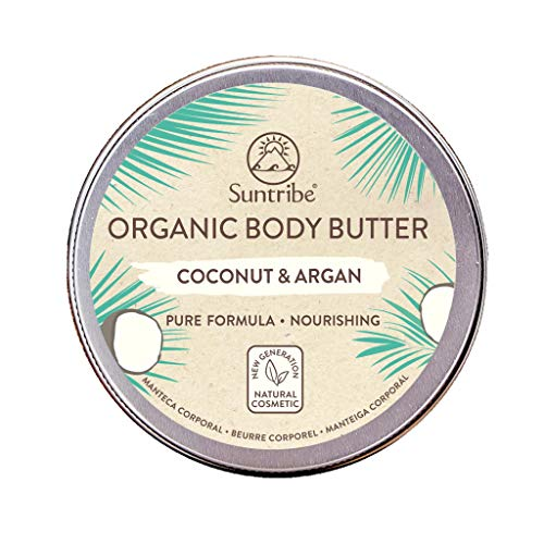 Suntribe Bio-Körperbutter KOKOS & ARGANÖL – 100% Bio – 5 Inhaltsstoffe – Natürlicher Kokosduft (Parfümfrei) – Pflegend & Feuchtigkeitsspendend - (Sehr) trockene Haut/Sensible Haut (150ml)