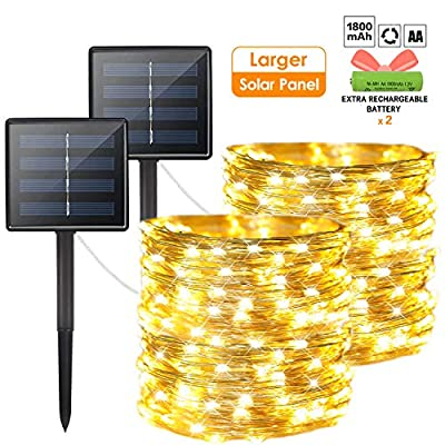 OZS 2-Pack 200 LED Solar String Lights Outdoor, Waterproof 8 Modes Fairy Lights for Garden Patio Yard Wedding Party (Silver Wire Warm White)