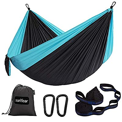 Sunyear Hammock Camping Lightweight Portable Nylon Hammock with 2 Tree Straps (32 Loops,10 ft) & 2 D-Shape Steel Carabiners-Easy to Assemble – Perfect for Camping Backpacking Hiking Travel Beach Yard