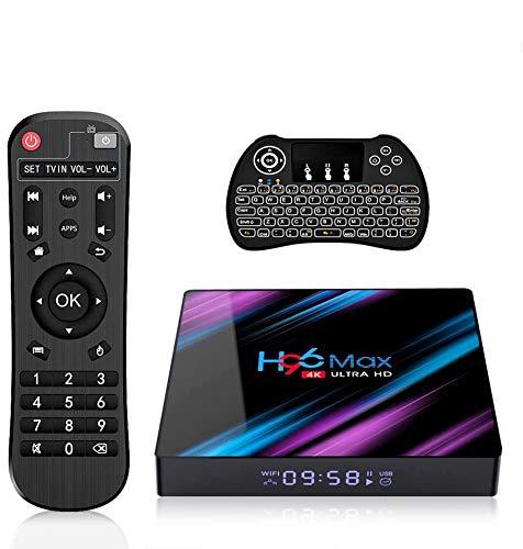 H96 Max 3318 Android 9.0 TV Box 4GB RAM 32GB ROM, 4K Smart TV Box RK3318 Quad Core A53 Processor Support 2.4G/5G Dual WiFi/USB3.0/Bluetooth 4.0/H.265/3D with Backlight Wireless Keyboard