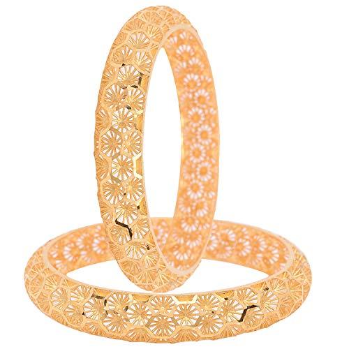 Ratnavali Jewels CZ Zirkonia 24K Forming Gold Tone Zusammenfassung Indische Bollywood Hochzeit Armreifen Kada Schmuck Frauen Braut