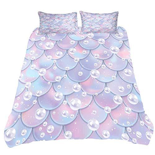 Juego de ropa de cama de gran tamaño con diseño de escamas de sirena, juego de cama de 3 piezas, antidecoloración, funda de edredón de lujo con 2 fundas de almohada con cremallera de microfibra