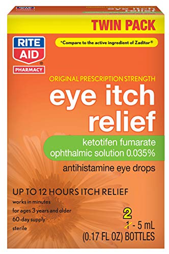 Rite Aid Eye Itch Relief Antihistamine Eye Drops, Original Prescription Strength, 0.17 fl oz, 2 Count