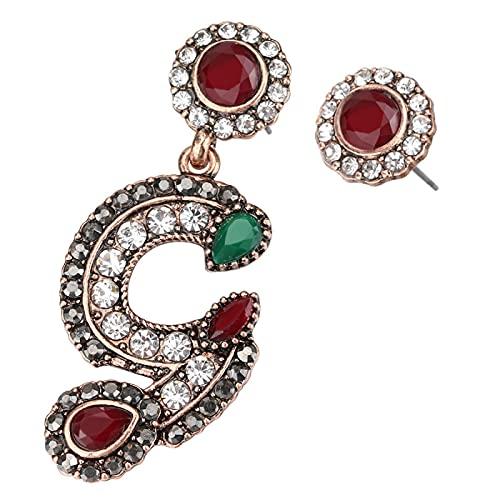 Pendientes turcos Vintage para mujer Color dorado antiguo Letra G Asimetría Pendiente de botón Joyería de estilo indio