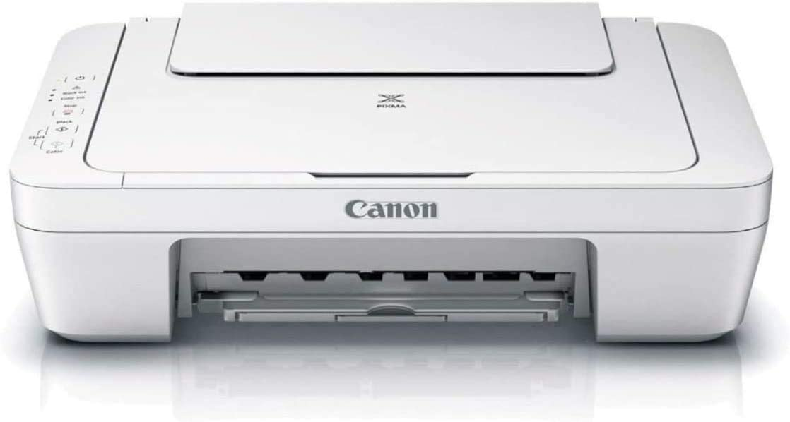 Canon PIXMA MG Series All-in-One Color Inkjet Printer, White - 3-in-1 Print, Scan, and Copy or Home Business Office, Up to 4800 x 600 Resolution, Auto Scan Mode - BROAGE 3 Feet USB Printer Cable