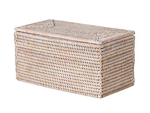 Kouboo La Jolla Rectangular Rattan Box, White-Wash Toilet Roll Storage Basket