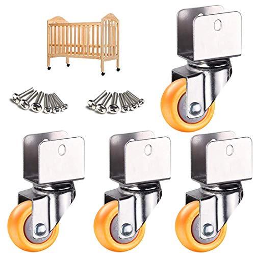 Ruedas giratorias de 2 pulgadas y 50 mm, ruedas giratorias para muebles con soporte en U, ruedas de nailon adecuadas para cunas, ruedas de cama, ruedas giratorias universales con abrazadera en U en