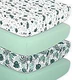 The Peanutshell Botanical Fitted Crib Sheet Set for Baby Boys or Girls, Unisex 4 Pack, Botanical Leaf & Pastel Green