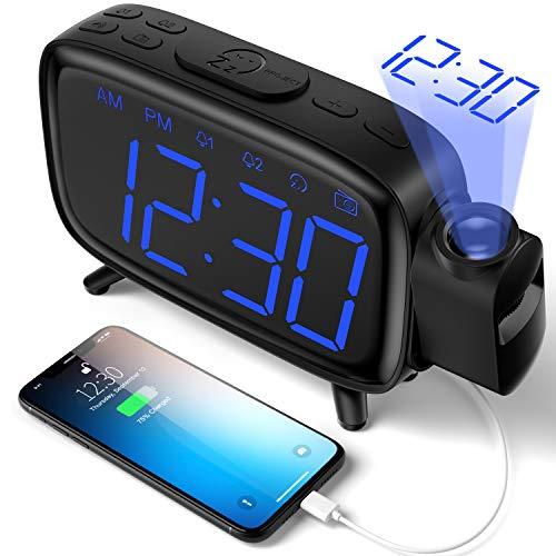Réveil à Projection Radio-réveil numérique avec 3 Niveaux de luminosité avec Projection à 180° FM Radio