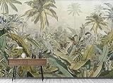 Papel Pintado 3D Fotomural Dibujado A Mano Medieval Planta De Selva Tropical Hoja De Plátano Fotomurales Decorativos Pared Papel Tapiz Pared Mural