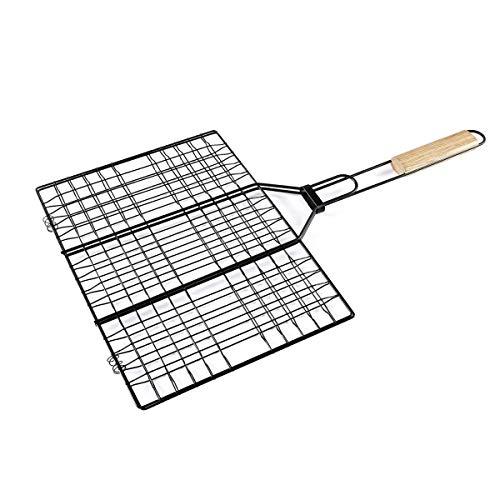 HANHAN Griglia per Barbecue Antiaderente 35x25cm, Griglia Pieghevole Portabile con Maniglia in Legno, Cestelli alla Griglia per Barbecue, Bistecche, Carne e Verdure