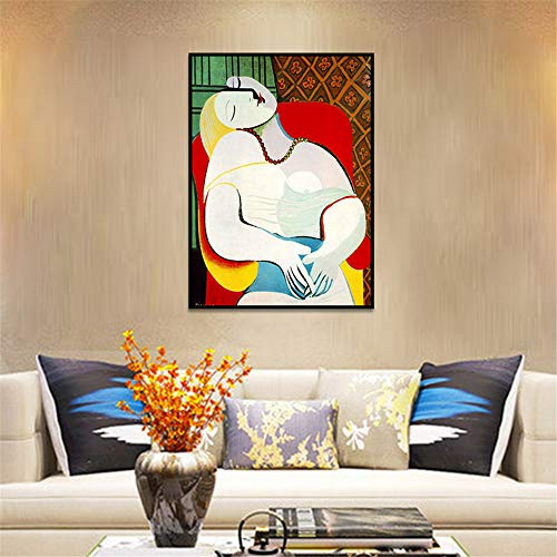 Danjiao Minimalistischen Pablo Picasso-The Dream Abstrakte Leinwand Gemälde Öl Poster Wandbild Für Wohnzimmer Wohnkultur Ungerahmt Wohnzimmer 60x90cm