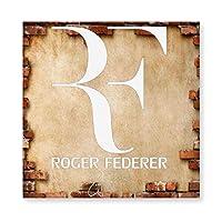 スマイル テニス 王子 フェデラー ロゴ リング付き 木製 額縁 フォトフレーム 壁掛け 木製 横縦兼用 絵を含む 40×40cm