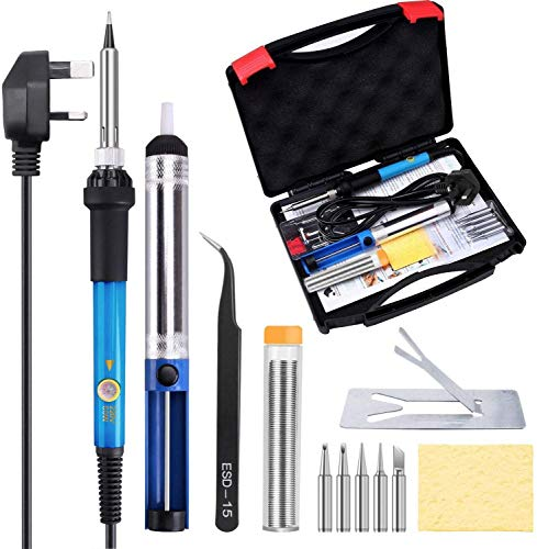 TABIGER Soldering Iron Kit - 60W Temperature Adjustable Electric Solder Iron Gun Welding Set with Toolbox (12 Pieces kit)