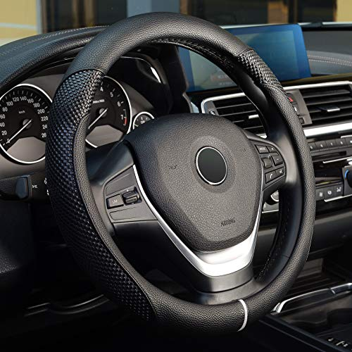 LABBYWAY Universal 15 inch Steering Wheel Cover, Microfiber Leather Car Steering Wheel Cover Anti-Slip,Black